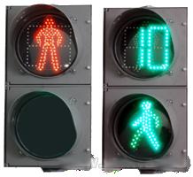 Секция пешеходного светофора зеленого света